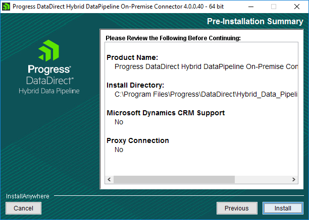 On Premise Connector Pre Install Summary