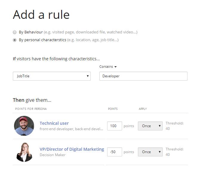 Persona scoring rules