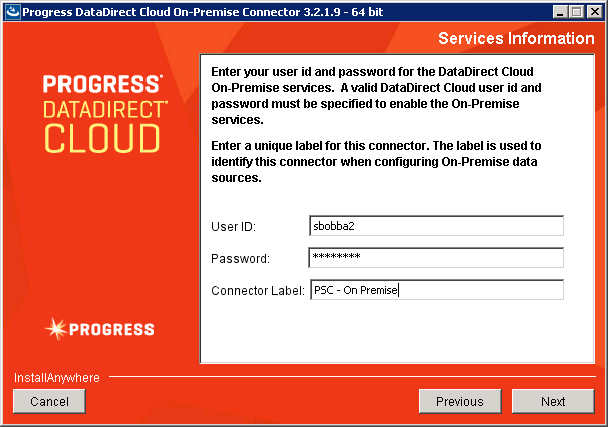 Provide your DataDirect Cloud credentials