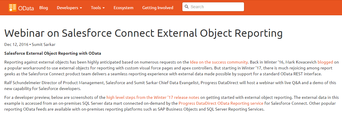 Salesforce Connect External Object Reporting Webinar Featured on OData.org