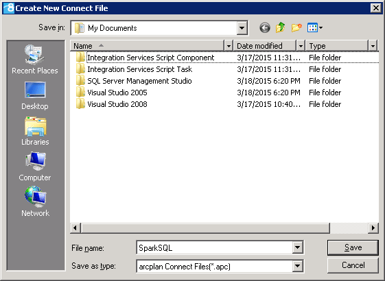 Save the Arcplan Connection file