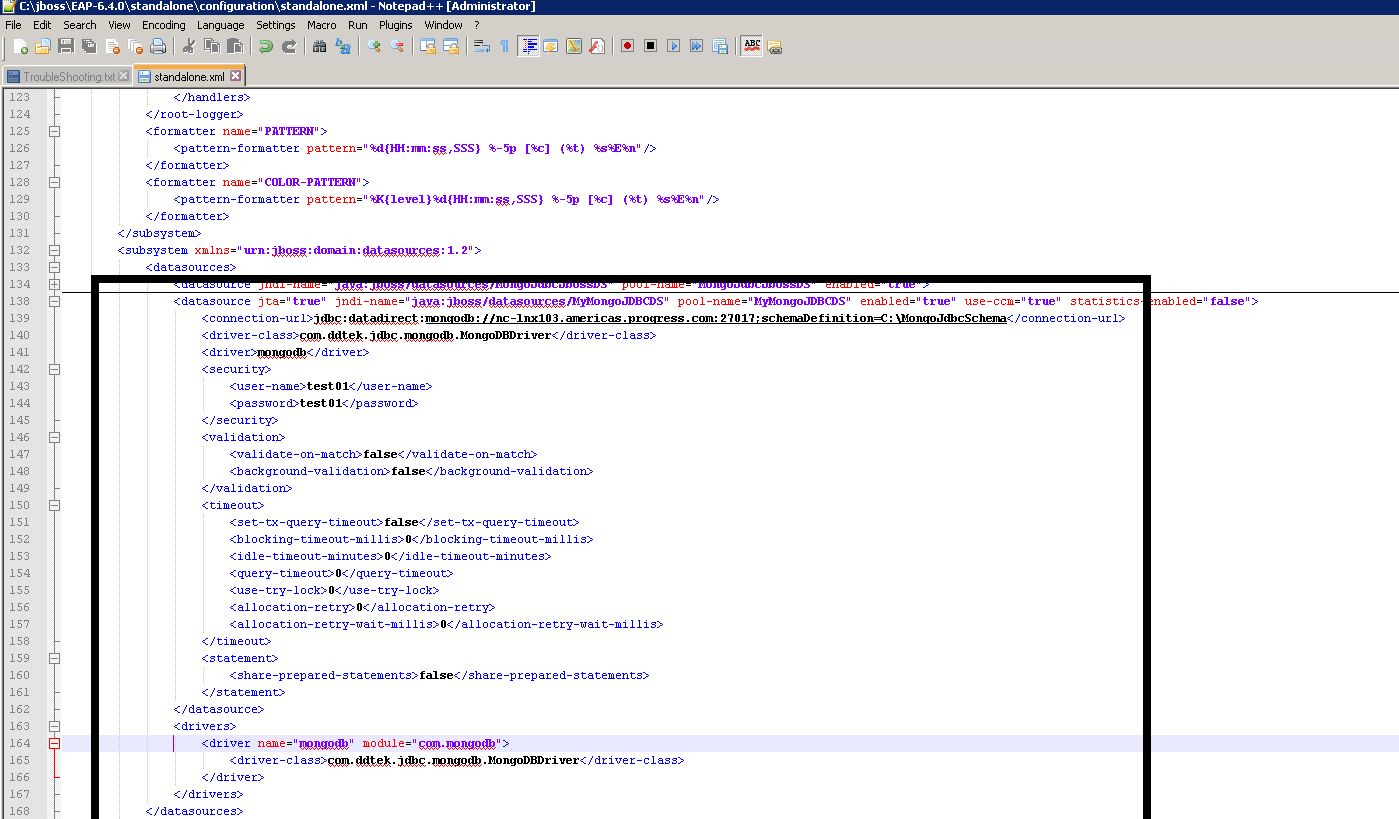 Screenshot of the standalone.xml