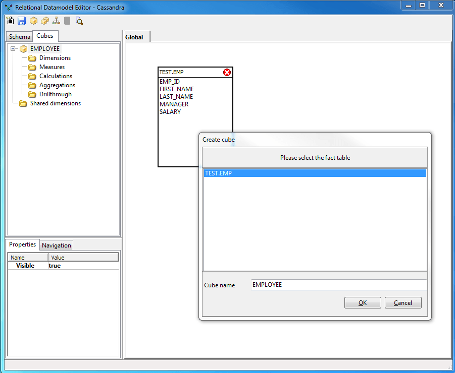 Select and drop the EMP schema to the data Model and create a new cube EMPLOYEES