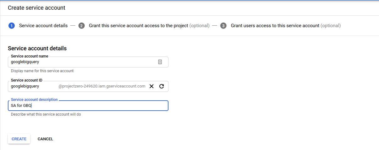 Create Service Account
