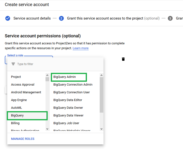 Choose Service Account Permissions