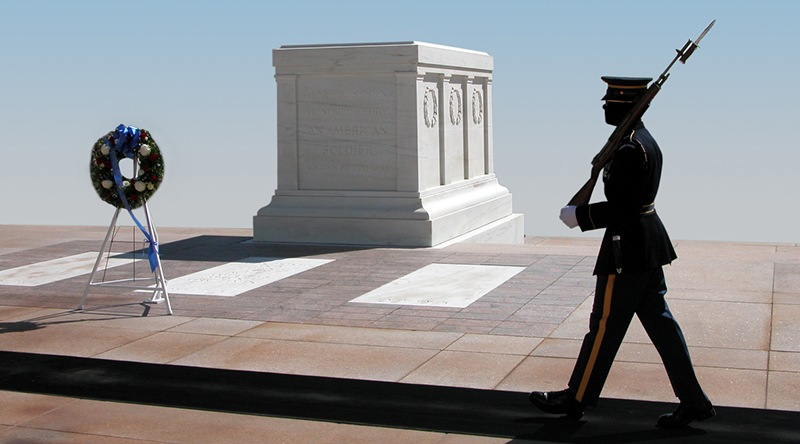 The Tomb of the Unknown Soldier, Arlington National Cemetery in Arlington, Virginia.