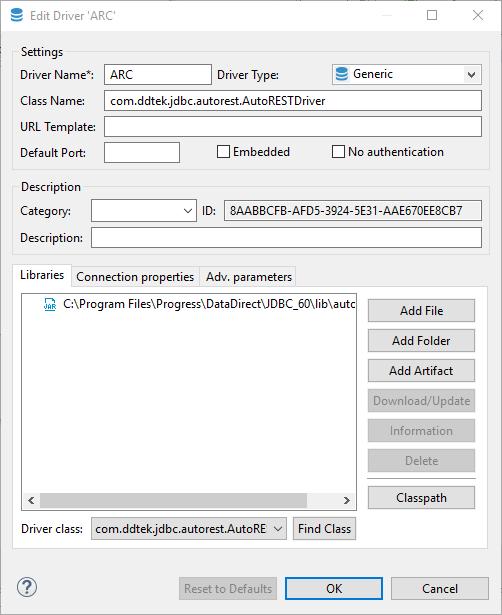 Edit driver configuration