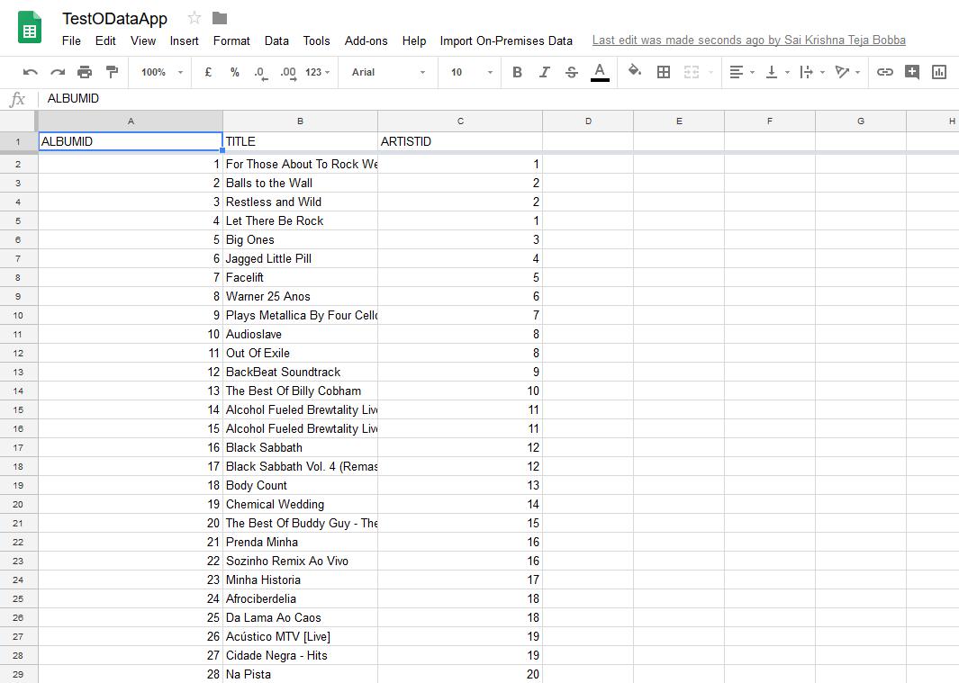 8 Google Sheets OData