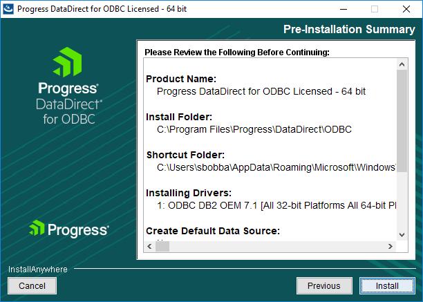 Pre installation summary