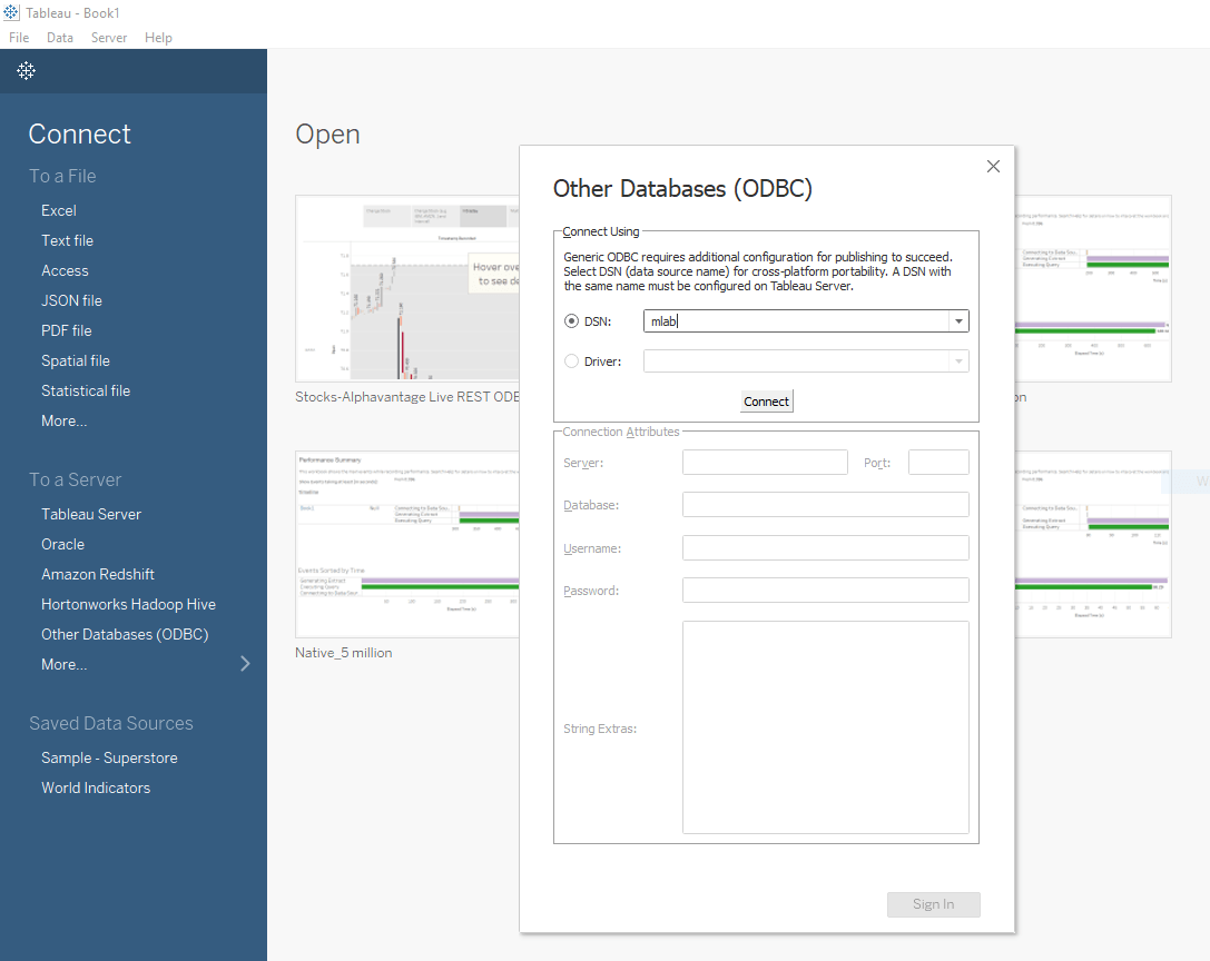 Tableau ODBC Data Sources