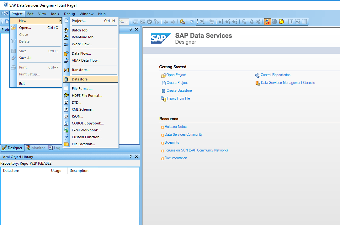 SAP BODS new datastore