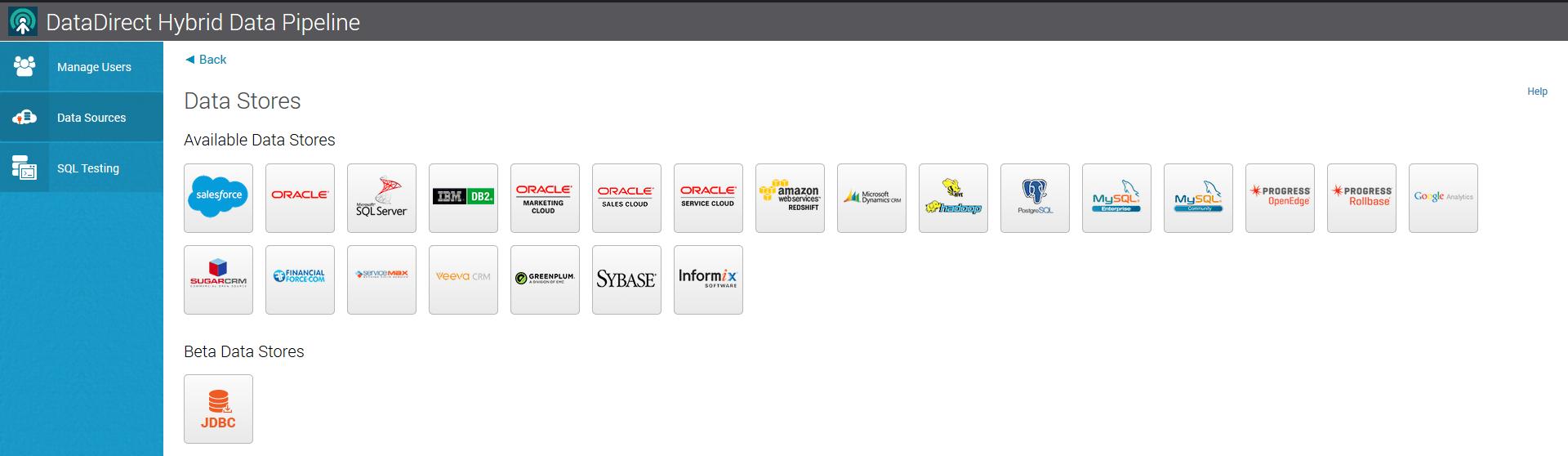 select jdbc data store