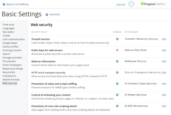 web-security-settings