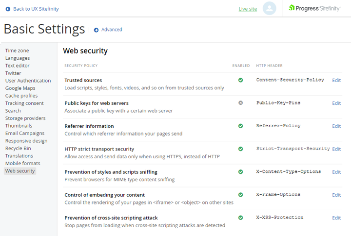 web-security-settings