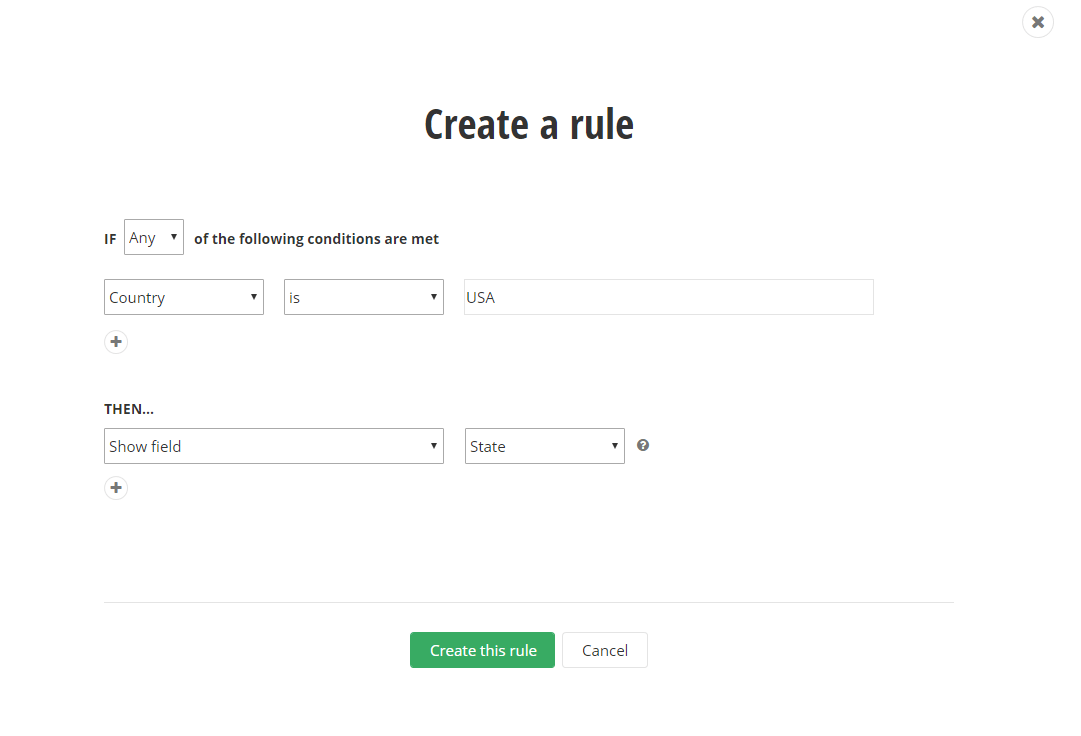 Sitefefnity Rule-Based Forms