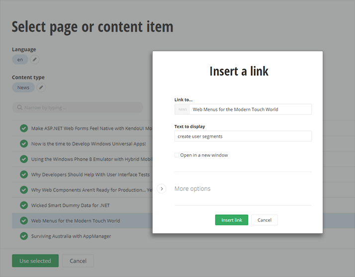 Dynamic Links to Pages and Content