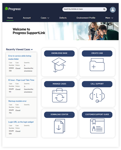 SupportLink portal home page